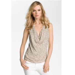 NWT Haute Hippie Cream Sequin Beaded Cowl Neck Top